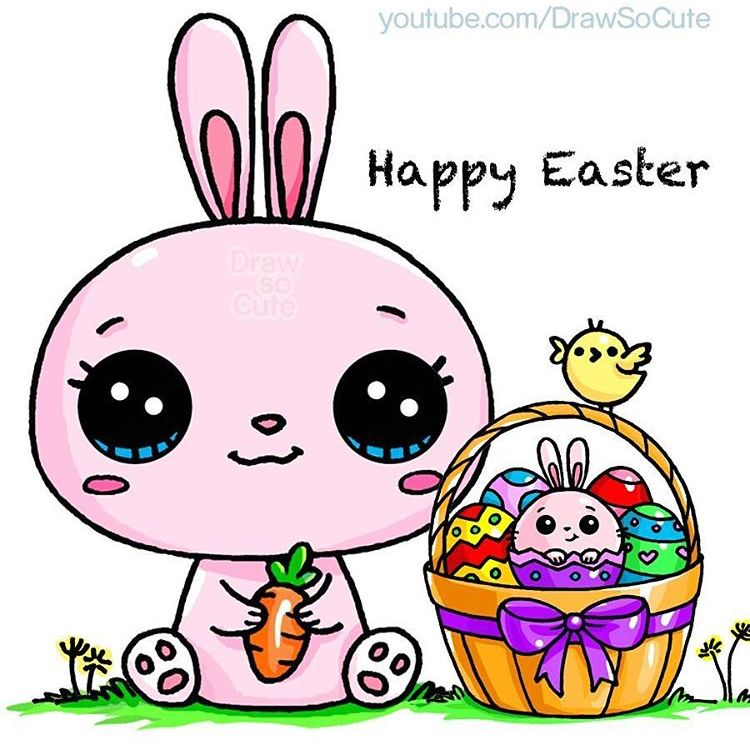 Happy Easter Draw So Cute In 2019 Pinterest Cute Kawaii
