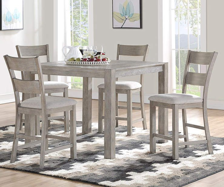 Astounding Stratford Hayden Gray Counter Height 5 Piece Dining Set In Gmtry Best Dining Table And Chair Ideas Images Gmtryco