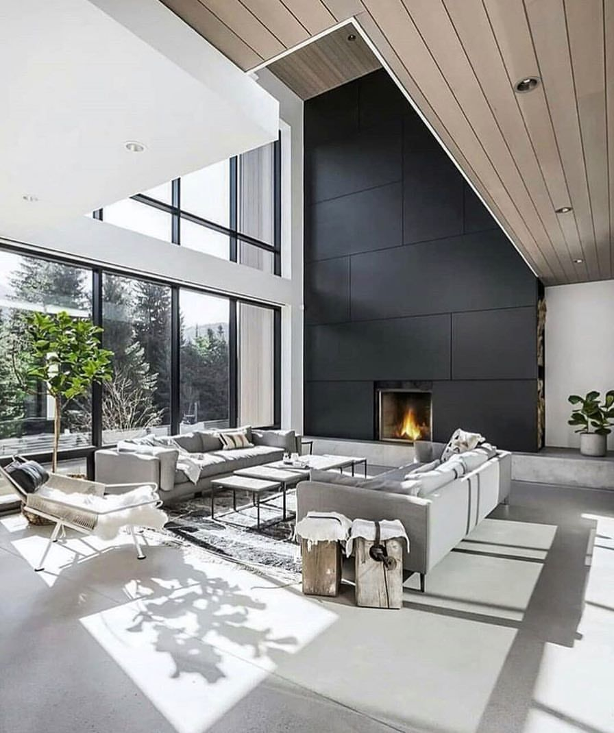 Modern Homes On Instagram High Ceilings Make A World Of Difference Via Marceloceciliodes High Ceiling Living Room Modern Houses Interior Contemporary House