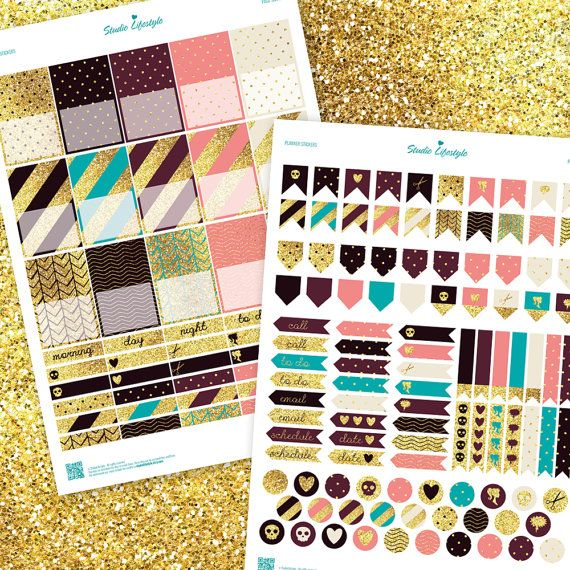 Printable planner stickers realistic glitter by StudioLifestyle