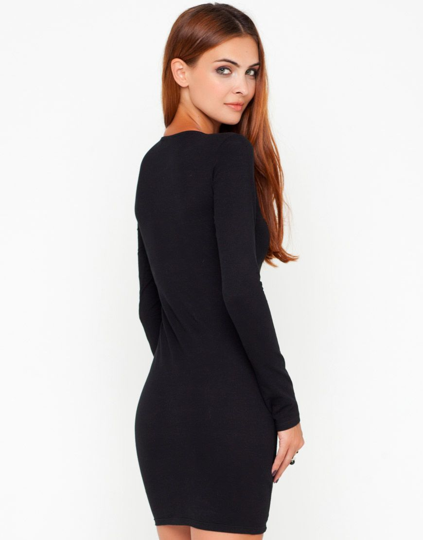Tamaya black long sleeve cross front bodycon dress dresses