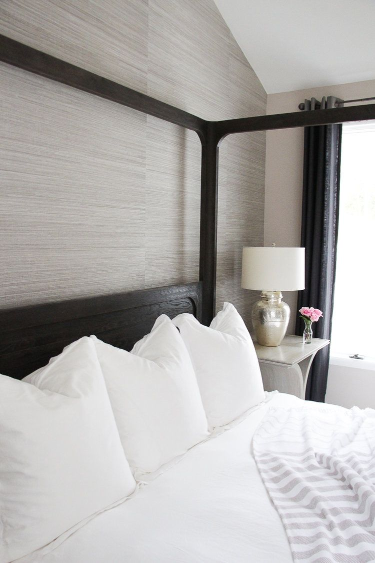 How to Make the Perfect Bed | Wallpaper feature walls, White bedding ...