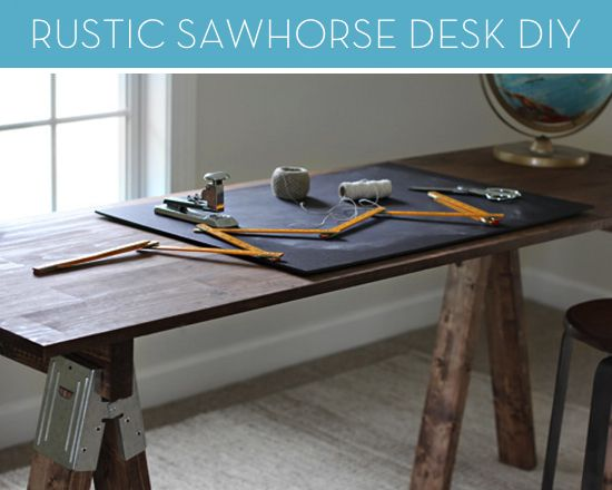 How To Build A Rustic Sawhorse Desk Without Picking Up A Hammer Sawhorse Desk Diy Craft Room Table Saw Horse Diy