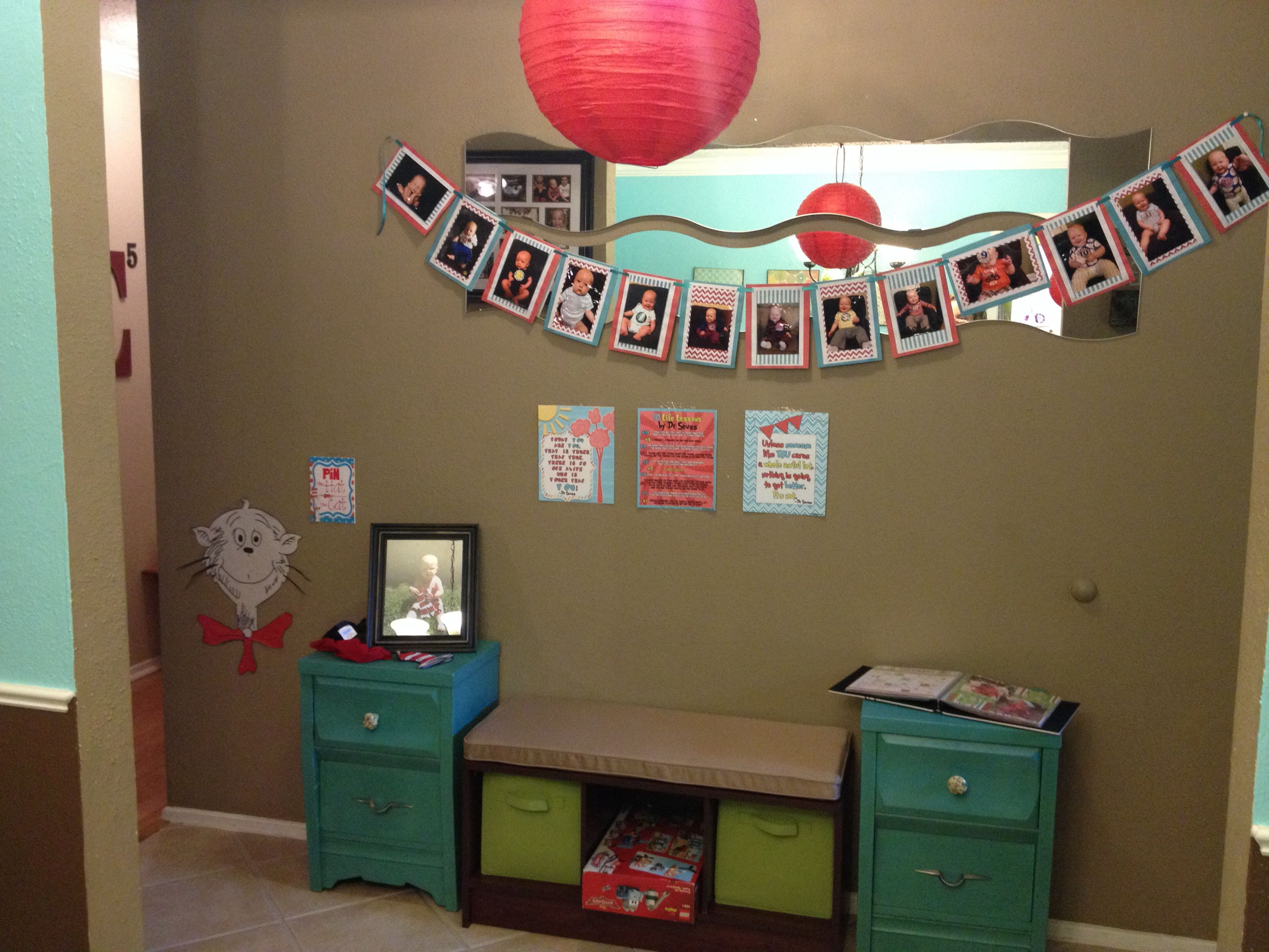 """Dr Seuss birthday banner and """"pin the hat on the cat"""""""