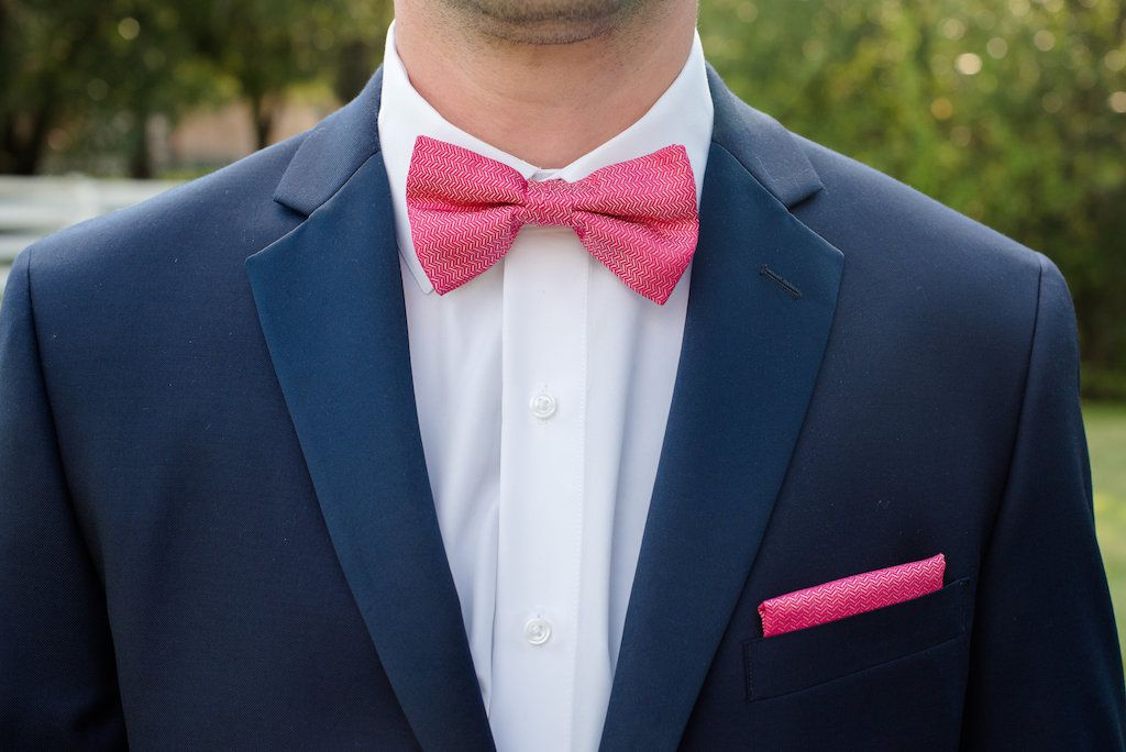 Groom Attire With Navy Blue Suit And Hot Pink Bowtie And Pocket Square Pink Bow Tie Blue Suit Pink Tie Navy Blue Bow Tie