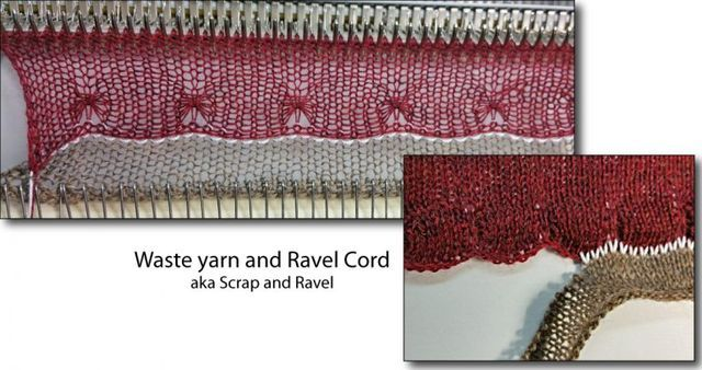 Starting your knitting with waste yarn and ravel cord is a machine knitting staple technique. Why Scrap and Ravel? Use waste knitting to hang cast on comb and/or weights Protect delicate/fine yarns Im