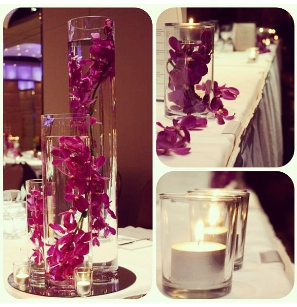 Bridal Table Decoration Purple Orchid Centerpiece Wedding