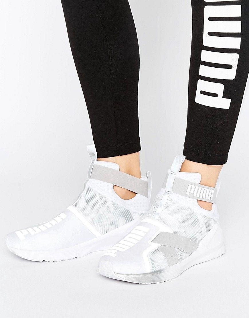 Puma women's white high top trainers. Fierce Strap Swan