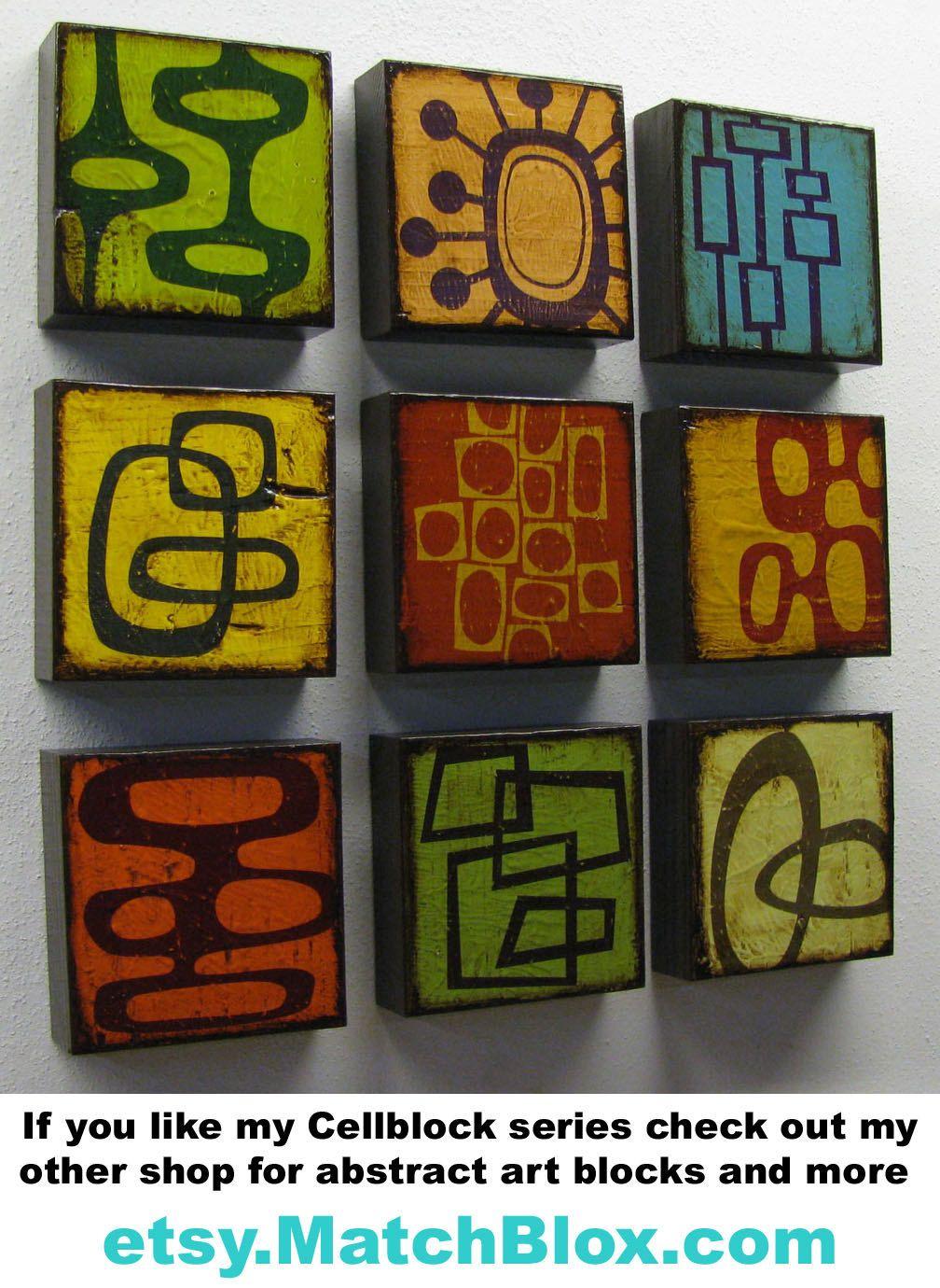 Abstract modern wood block printscellblock seriesx prints