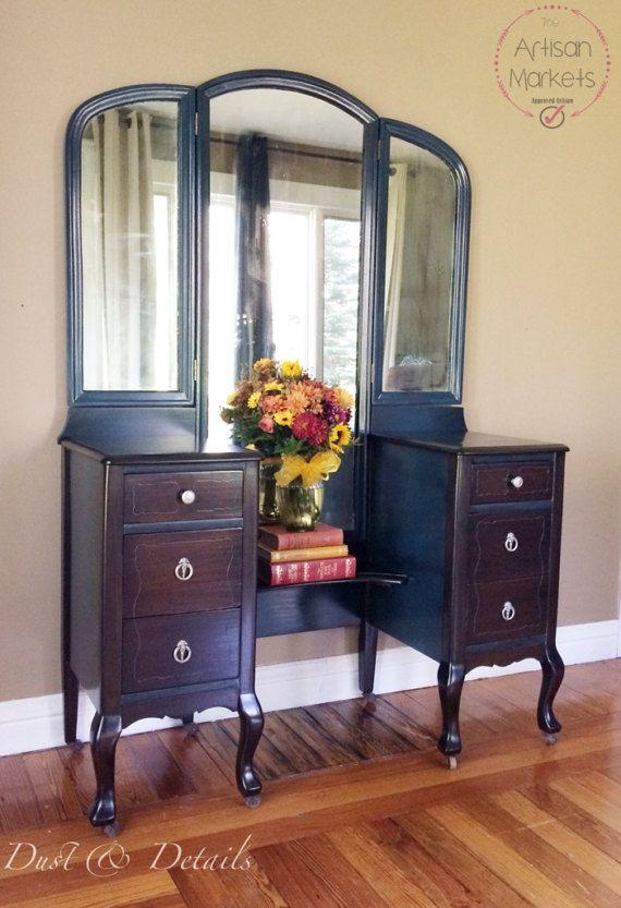 Large Antique Vanity With 3 Way Mirror Sparks Joy Pinterest