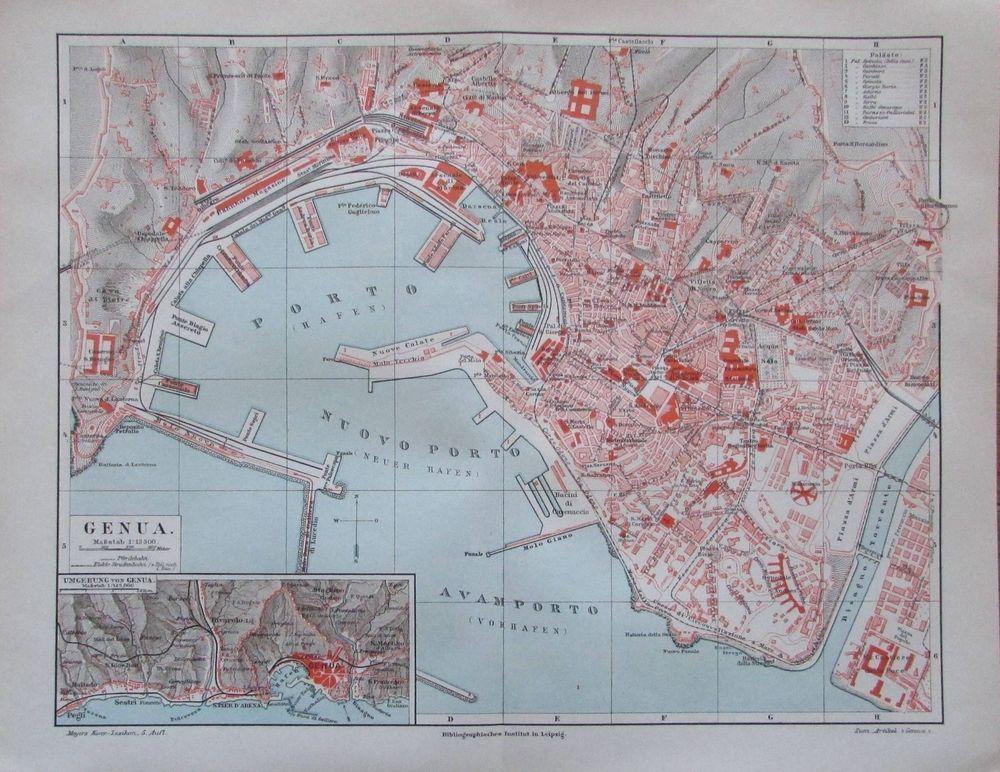 Details Zu 1897 Genua Alte Stadtplan Karte Italien Old City Map
