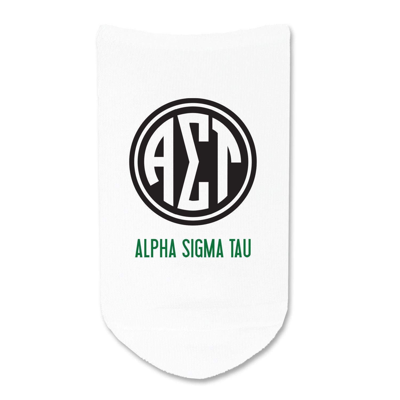 Alpha Sigma Tau- Circle Monogram No-show Socks