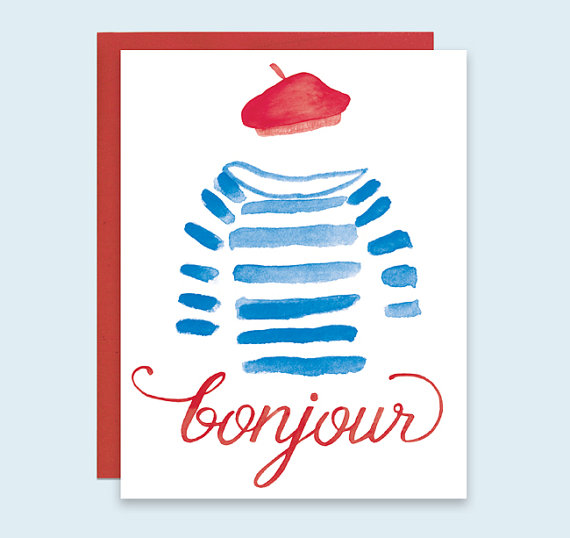 Bonjour card bonjour french greeting card parisian greeting card bonjour card by leveret paperie bonjour french greeting card parisian greeting card paris greeting card french beret card watercolor french card m4hsunfo