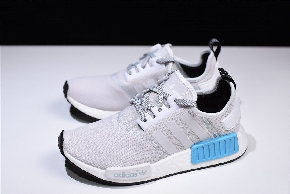 S31511 New Adidas Nmd R1 Runner Light Grey White Blue Men S And
