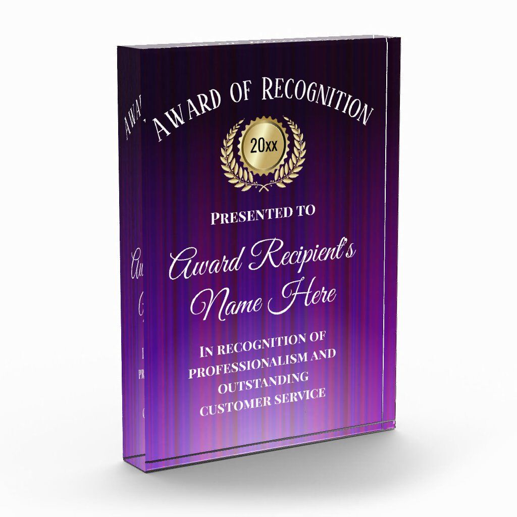 Customized Corporate Award Modern Purple Trophy Standing acrylic plaque. Customize this beautiful dimensional acrylic (glass-like) award plaque with any title, recipient, corporate business name and details. Makes a great employee of the month or year, outstanding service, recognition, achievement, accomplishment, charity, volunteer, mvp or sports banquet award trophy. Custom personalized acrylic award block plaque is freestanding as a trophy and easily customized online. Clear with modern purpl