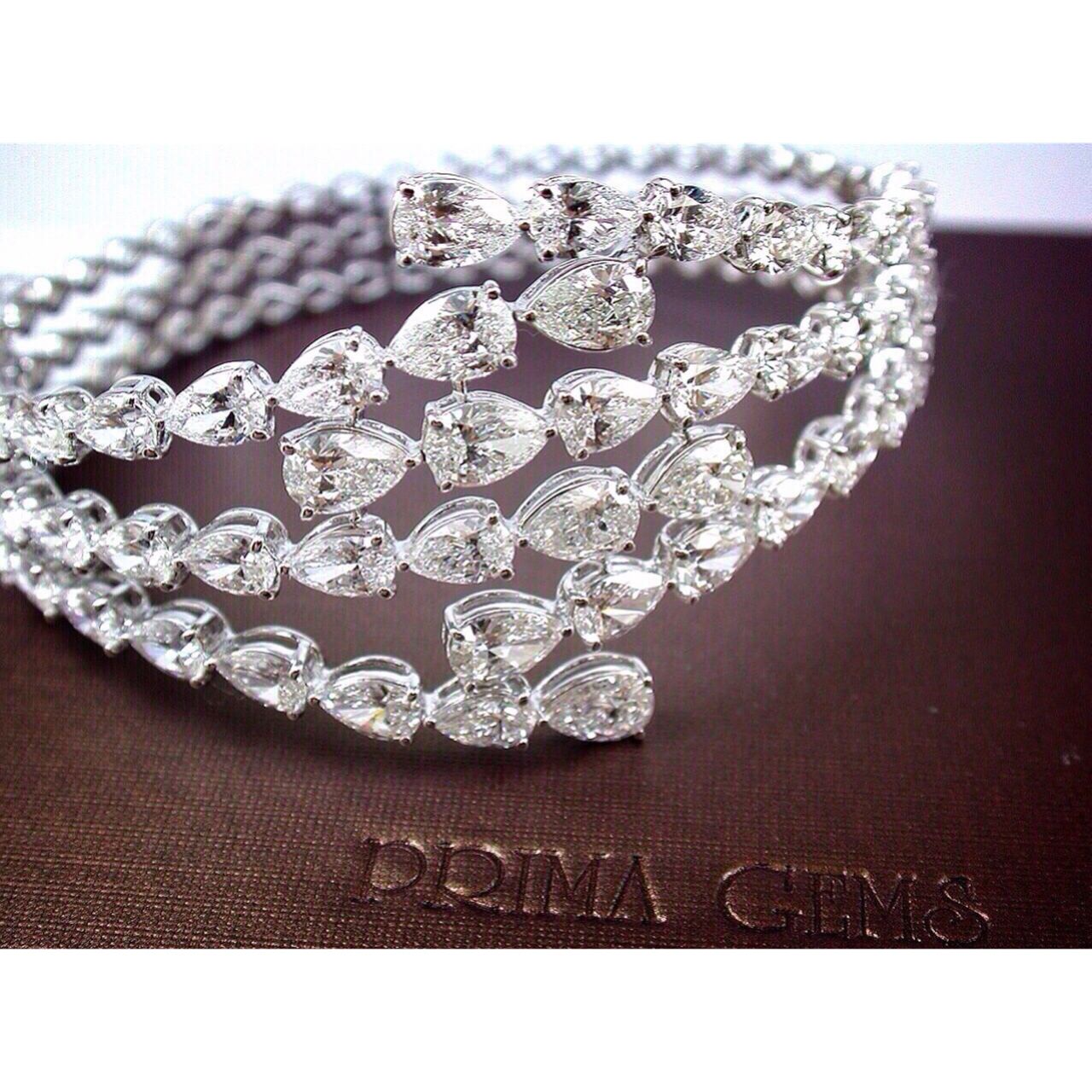 This Gorgeous Pear Shaped Diamond Bangle Is Unique And Sophisticated Primagems Pearshapediamond Ban Diamond Bracelet Design Diamond Bangle Diamond Bracelets