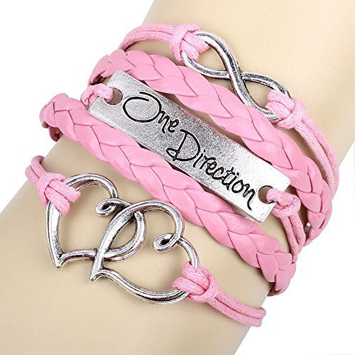 Winters Secret One Direction Theme Heart To Heart Lucky Eight Pink Woven Leather Bracelet -- Check out the image by visiting the link.