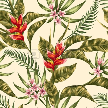 Tropical floral seamless pattern with plumeria and hibiscus