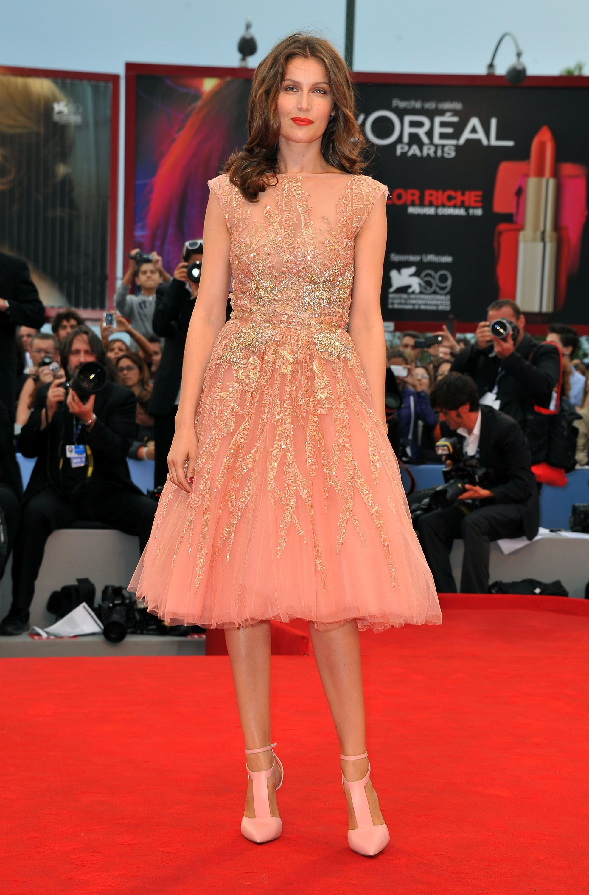 Laetitia Casta in ELIE SAAB Haute Couture Fall-Winter 2012-13 at the 'Master' Premiere at the 69th Venice International Film Festival.