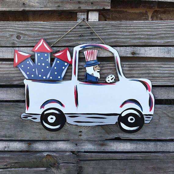 4th Of July Door Hanger Truck