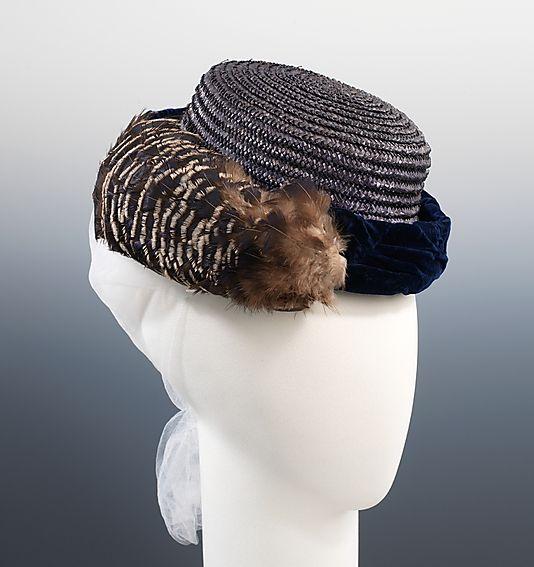 1870 Brown /& White Satin Braid Bonnet