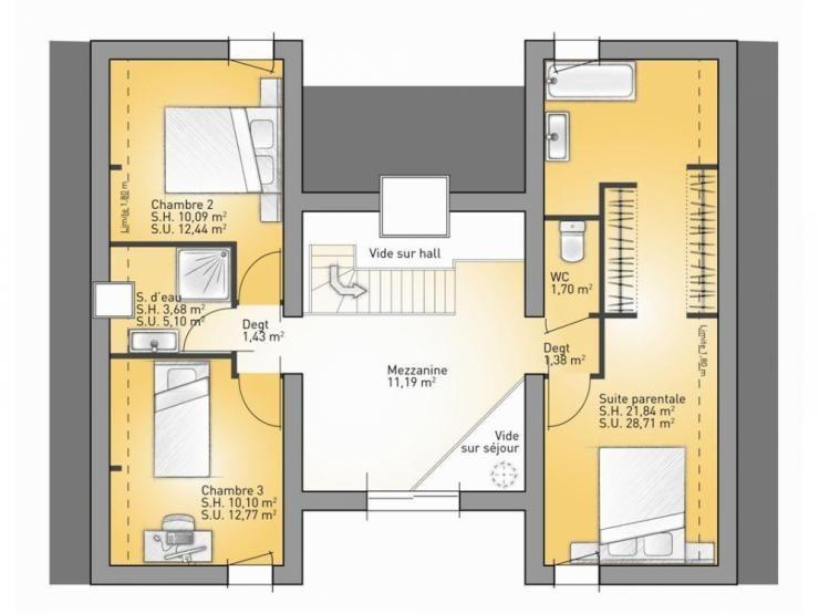 Plans de maison 1er tage du mod le concept maison for Modele de maison moderne a etage