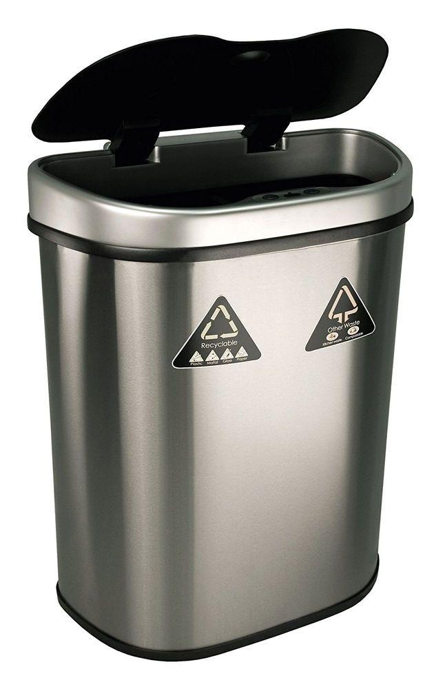 Motion Sensor Trash Can Stainless Steel Touchless Kitchen Garbage Auto Lid  Bin #NineStars