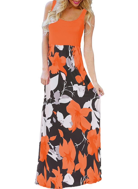 7e0377946d63 BLUETIME Womens Summer Boho Sleeveless Floral Print Tank Long Maxi Dress  Orange XL   Read more