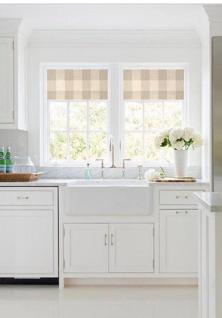 straight modern valance in grey black or navy and white buffalo plaid cotton slub fabric on farmhouse kitchen valance ideas id=67174