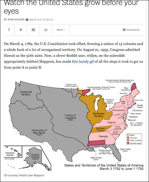 This Animated Gif Will Show You The Evolution Of The States From - Us map in 1790