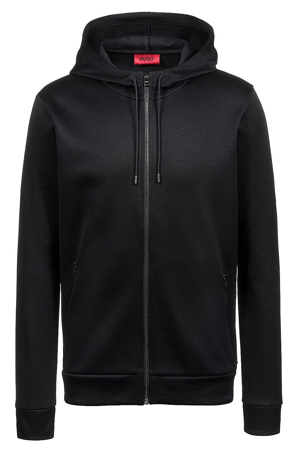 9db065365579 HUGO BOSS Relaxed-fit hooded sweatshirt in French rib cotton - Black  Sweaters and Cardigans