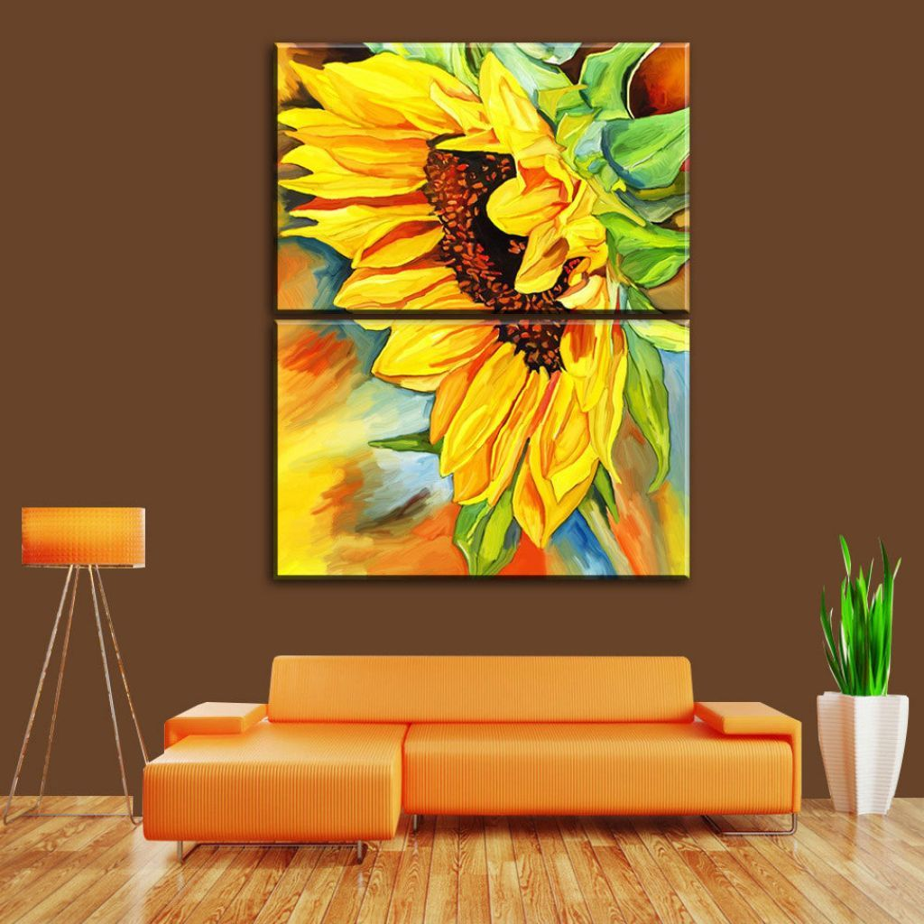 2-panels-modern-living-room-decorative-canvas-painting-sunflower ...