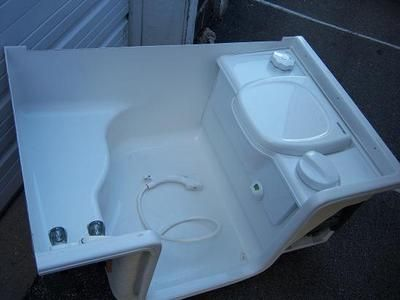 Rv bathroom toilet shower combo my web value for Install bathroom in enclosed trailer