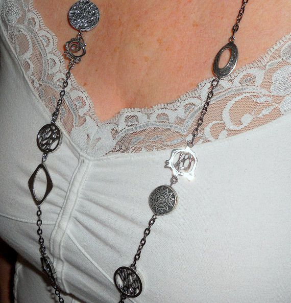 Long silver necklace Asymmetrical long by BohoChicGypsyJewelry, $40.95