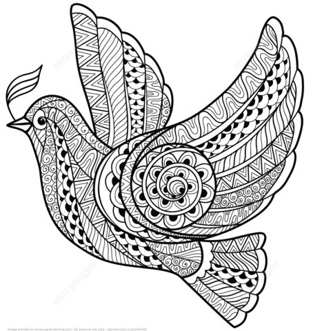 Paloma de la Paz Zentangle Dibujo para colorear … …   Pinteres…