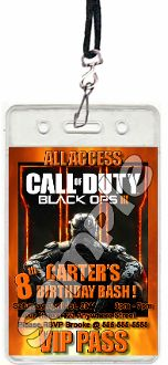 Call of duty black ops 3 vip passes with lanyards 2400 for 12 ready call of duty black ops 3 vip pass birthday party invitation filmwisefo