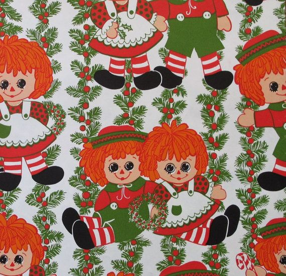 Christmas Raggedy Ann and Andy Gift Wrap Wrapping Paper - 1960s - 1970s