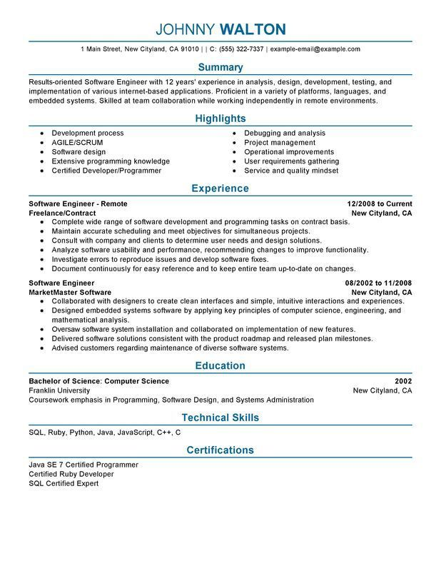 resume for software engineer software engineer resume example sample