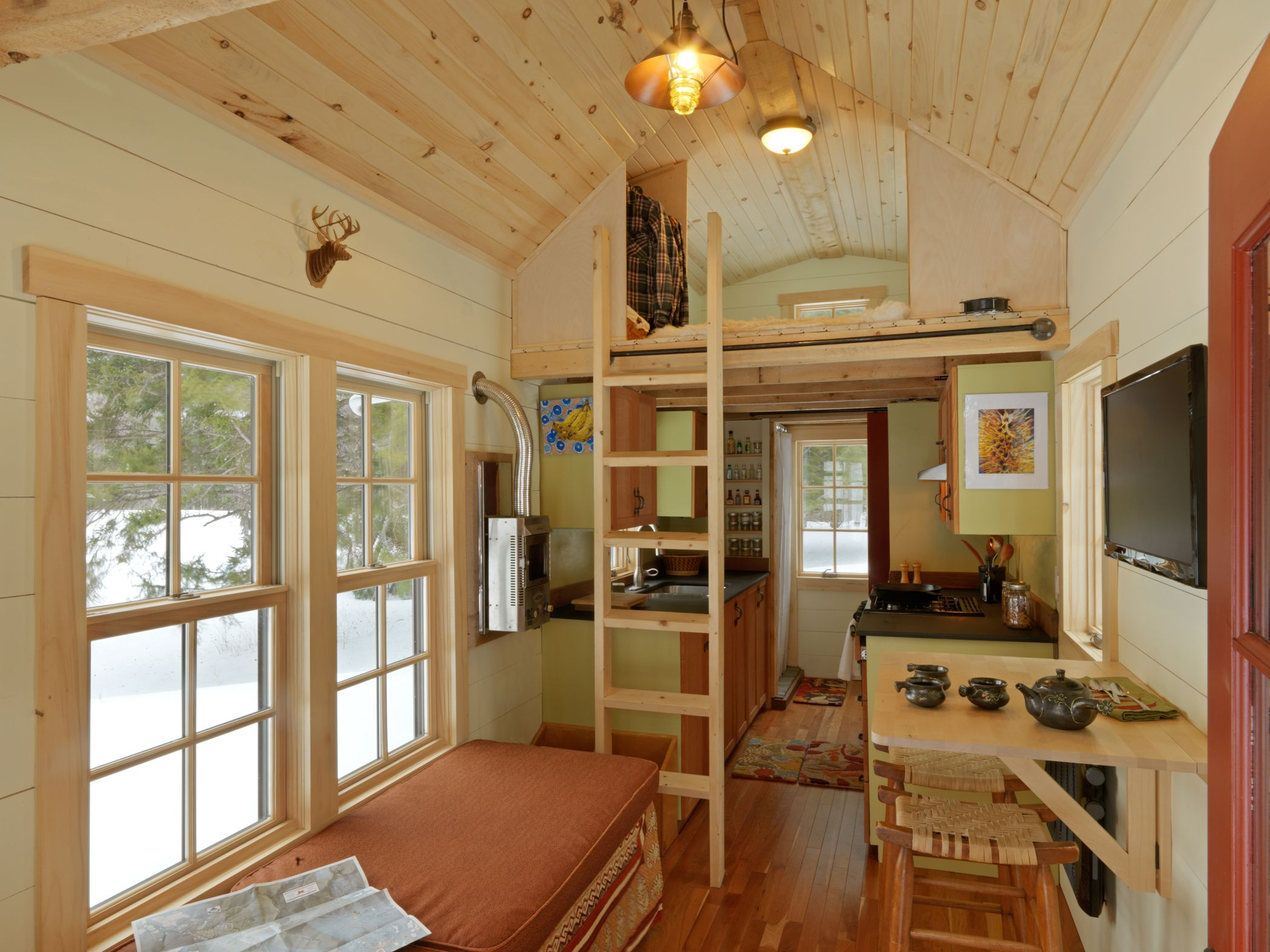 Ethan waldman 39 s tiny house includes everything he needs in for Small house interior