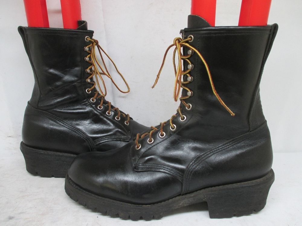 Vintage grey brown leather lace up Red Wing Redwing work logger ...