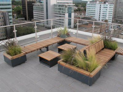 Railroad Modular Seating And Integrated Planters