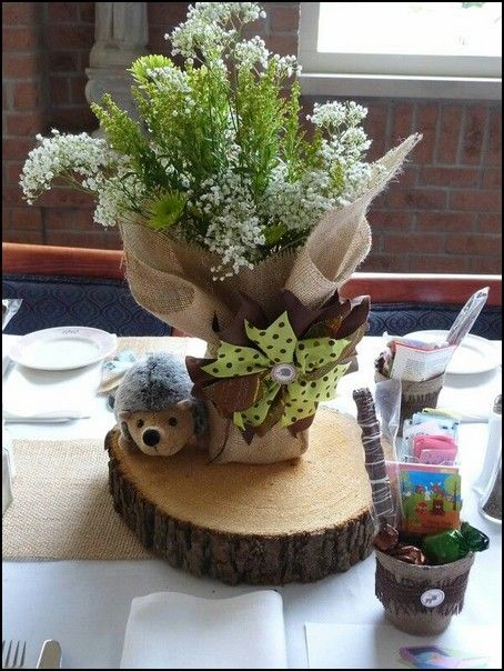 Woodland themed baby shower centerpieces baby for Animal themed bathroom decor