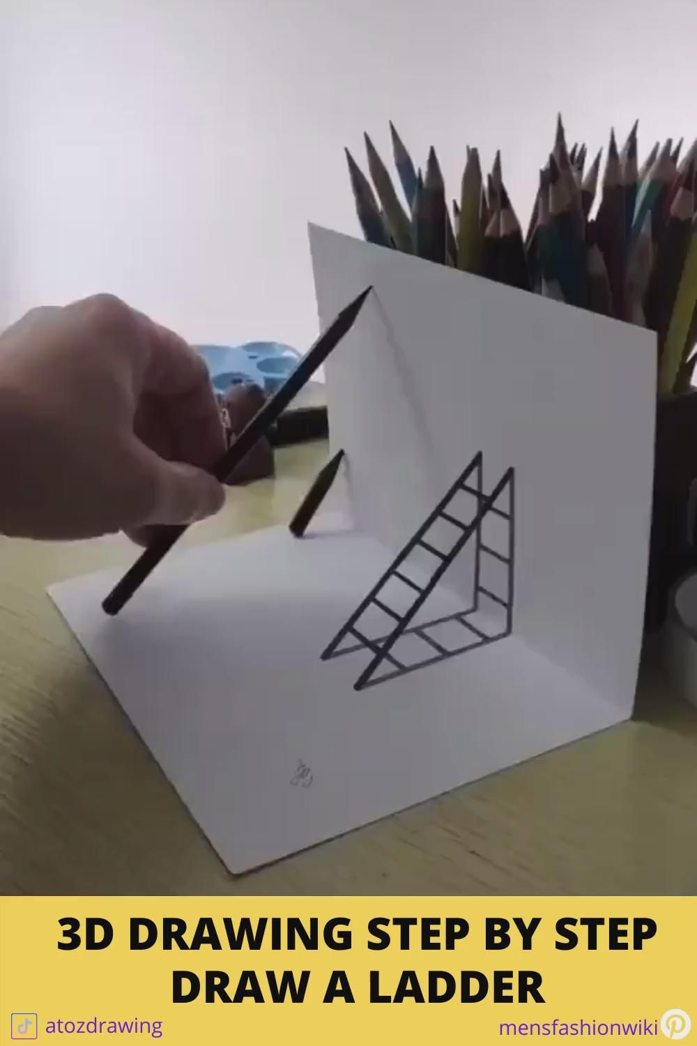 3D drawings step by step tutorials - Draw a ladder