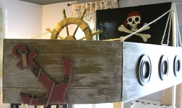 Pirate Ship Bunk Bed With Slide Pirate Boys Bedroom I Created An