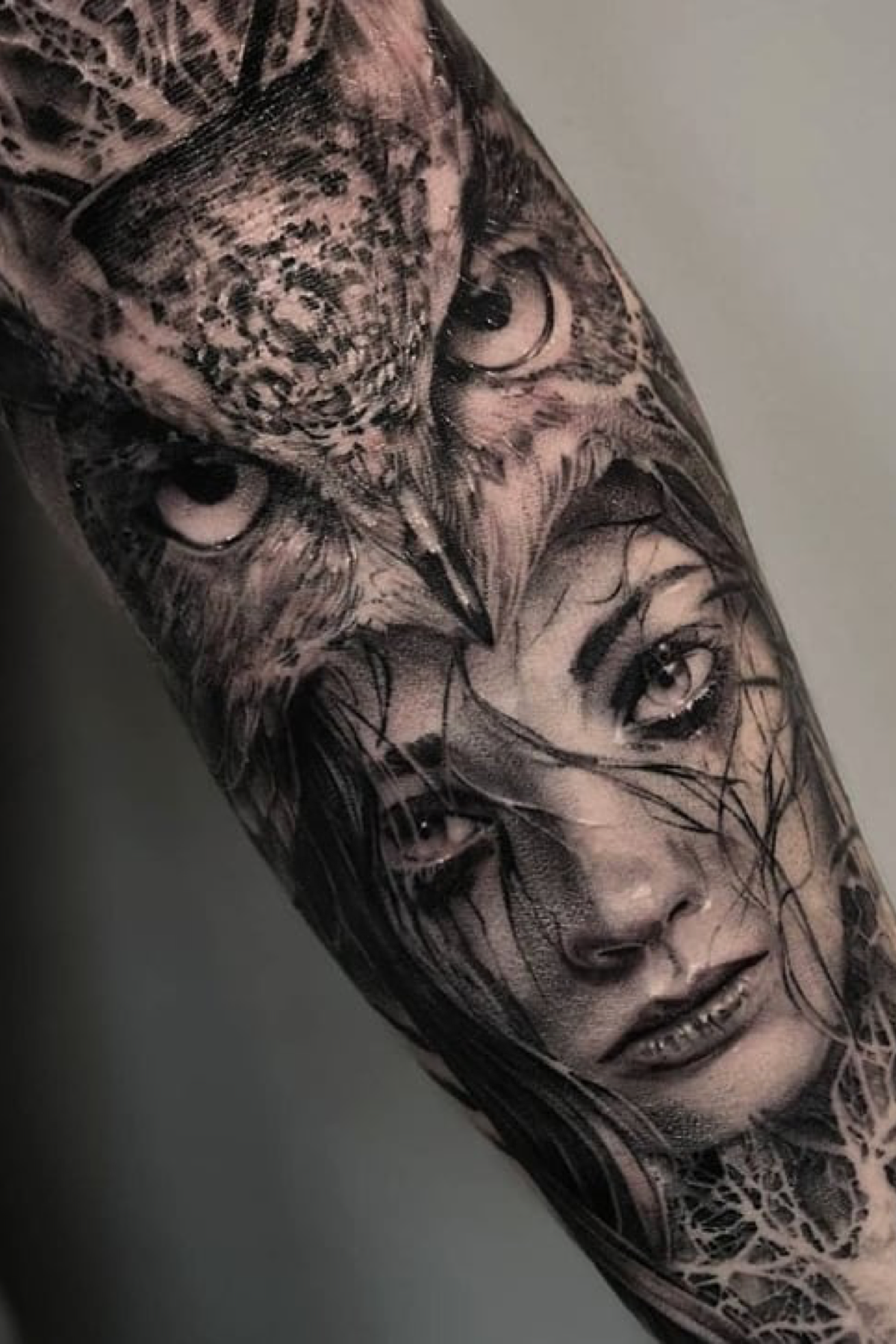 Realistic Native American Tattoo Portrait With An Owl Headdress Made By John Hudic In London Uk Headdress Tattoo Realistic Owl Tattoo Owl Tattoo Sleeve