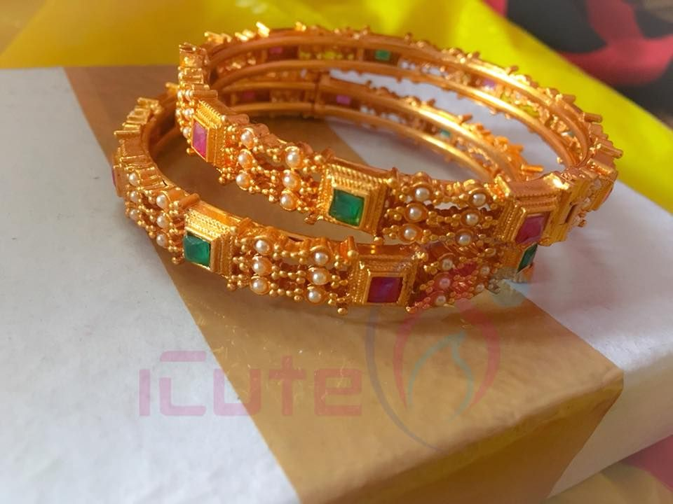 90428e62b8969 Beautiful one gram gold bangle studded with beads and multi color ...