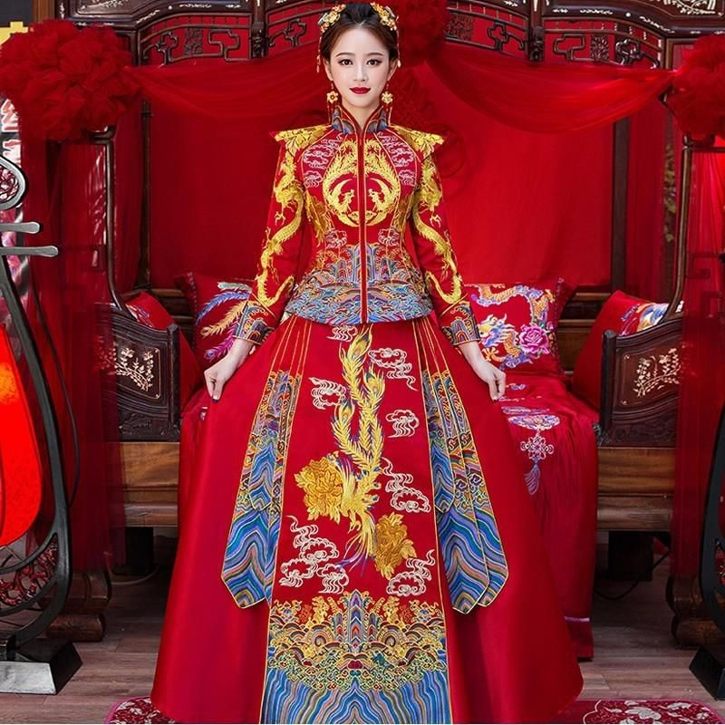 5623bfd8efcd2 Bride Traditions Chinese Traditional Wedding Dress Women Phoenix ...