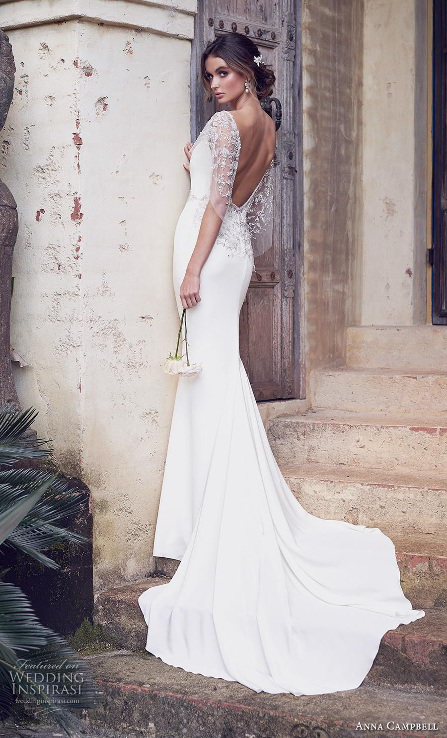 59c4ac25b545 anna campbell 2019 bridal butterfly sleeves diamond neck simple embellished  waist minimalist elegant fit and flare wedding dress backless scoop back  chapel ...