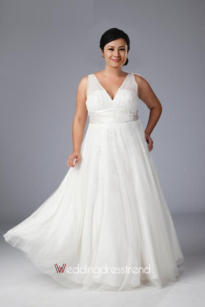 [$189.35] Fairytale V-neck Sleeveless Plus Size Wedding Dress