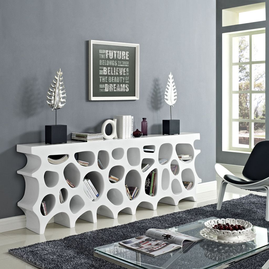 wander modern fiberglass console table with storage in white  - wander modern fiberglass console table with storage in white  consoles sideboards  contemporary furniture